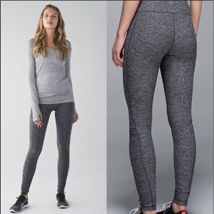 Lululemon Run Turn Around Tights 10 Heathered Gray